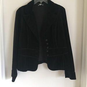 LOFT Black Suede Blazer Jacket with Buttons Sz 12